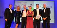 BVM Export Business of the Year L-R Tom Webb &  Anne-Marie Hamer from Mogers Drewett, Danny Thrasher, Lesley Keets & Phil Whitehurst from Actisensem, and Nick Thompson GB Sailor (Photo: Actisense)