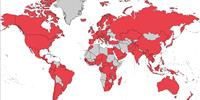 Globecomm Roam provides truly global cellular coverage, with coverage in all the territories shown on the map in red. (Photo: Globecomm)