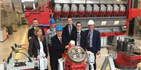 Stena CEO, Dan Sten Olsson (front, blue helmet) and Stena Line Technical Director, Bjarne Koitrand (white helmet) pictured in Augsburg during a tour of the local MAN PrimeServ facility (Photo: MAN Diesel & Turbo)