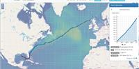VoyOpt display showing optimized route from US to Germany (Image: VoyOpt)