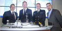 Left to right: Rory Fitzpatrick, ceo, National Space Center; Simon Coveney TD, Minister of Defense, Agriculture, Food and the Marine; Commodore Hugh Tully, Flag Officer Commanding Naval Service and John Makarus, operations director, Voyager IP at the launch of the new satellite service (Photo: Voyager IP)