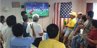 BW Prince crew enjoying World Cup coverage from KVH's satellite service. (Photo courtesy of BW Prince)