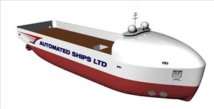 Following further developments in its design, Hrönn will now be a monohulled vessel of 37 m length, better suited for the intended operations. (Image: Bourbon/Automated Ships Ltd.)