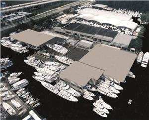 Bradford Fort Lauderdale's 11,000 linear feet of covered in-water dockage. Photo courtesy of Bradford Marine.