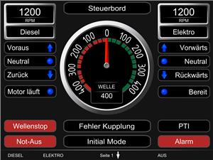 This screen design is customized for diesel-electric application. Any information and signals collected and transmitted by Emerson's AVENTICS Marex system can be sent via the Open Protocol Modbus TCP/IP to touch screens and main displays of the ship. (image courtesy of Emerson)