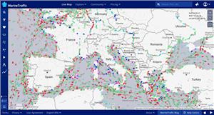 MarineTraffic uses ORBCOMM's satellite AIS data to track movements of ships as well as their arrivals and departures in harbors and ports around the world. (Image: MarineTraffic)