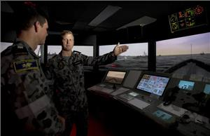 Maritime Warfare Officer Training in the KONGSBERG simulator at HMAS Watson. Photo credit: POIS Yuri Ramsey. Copyright: Commonwealth of Australia