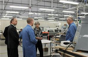 Theresa May at Kelvin Hughes' facility in Enfield (Photo: Kelvin Hughes)