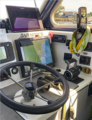 At the main helm of the FV Pinwheel, the Marex OS III Type 244 control head provides single-lever operation that combines both gear direction and engine speed. (Photo: Emerson)